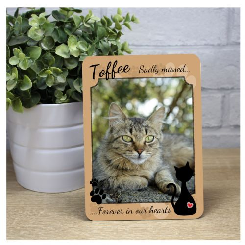 Cat Pet Memorial Bereavement Sadly missed Keepsake Wood Photo Panel Print Gift F28